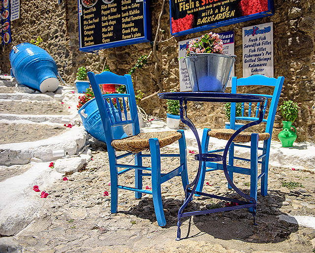 Traditional Blue Table and Chairs, Kos, Greece