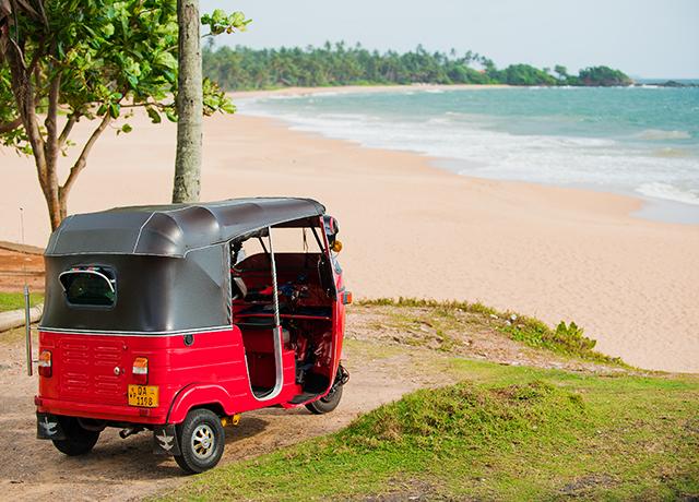 Tuk Tuk on beach - Induruwa